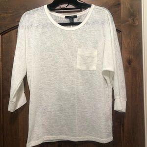 White 3/4 Sleeve Shirt from Forever 21 NWOT